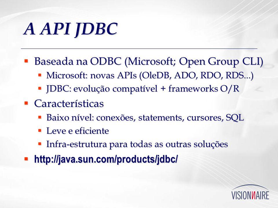 A API JDBC Baseada na ODBC (Microsoft; Open Group CLI) Características