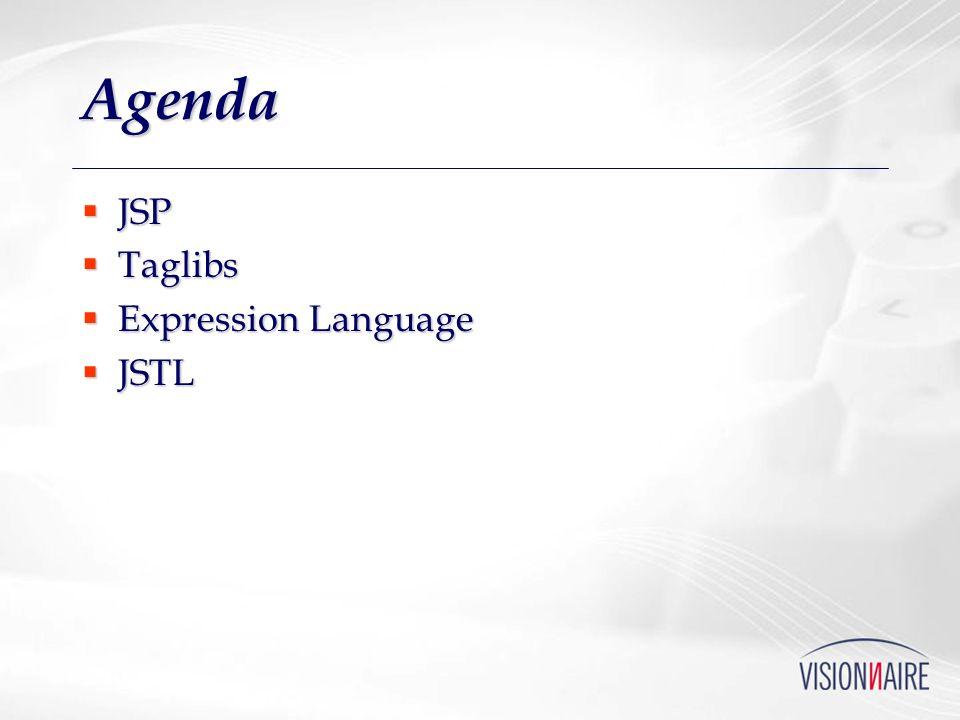 Agenda JSP Taglibs Expression Language JSTL
