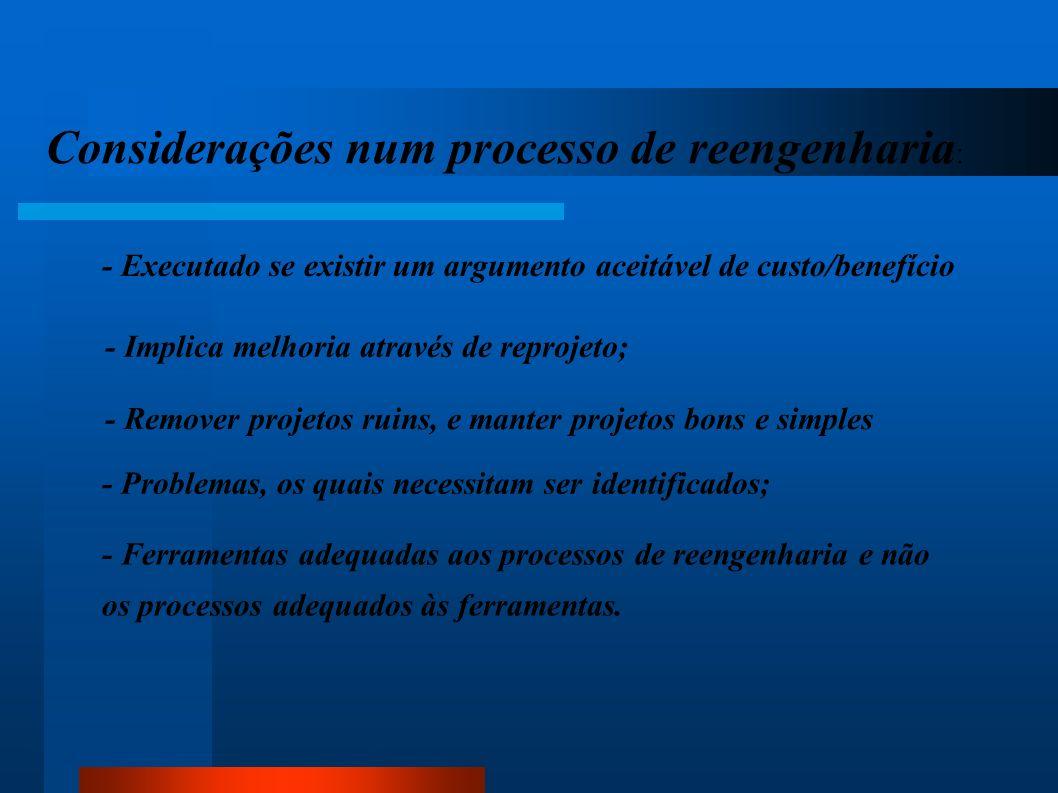 Considerações num processo de reengenharia: