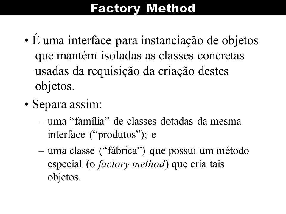 • É uma interface para instanciação de objetos que mantém isoladas as classes concretas usadas da requisição da criação destes objetos.