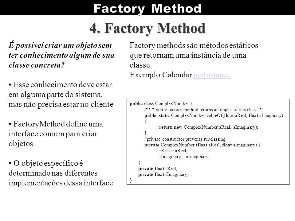 4. Factory Method É possível criar um objeto sem ter conhecimento algum de sua classe concreta