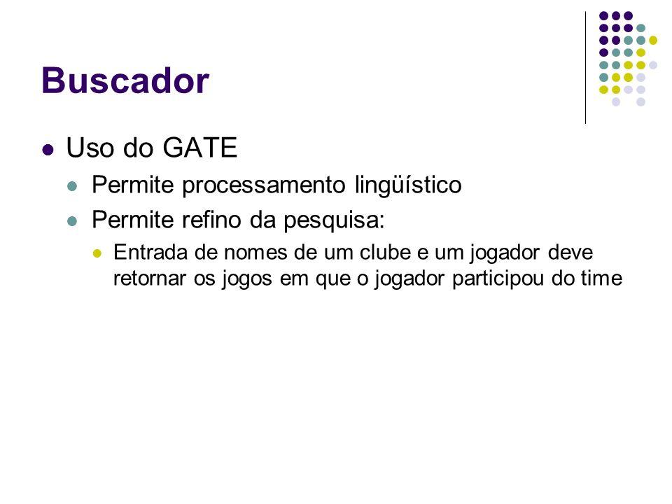 Buscador Uso do GATE Permite processamento lingüístico