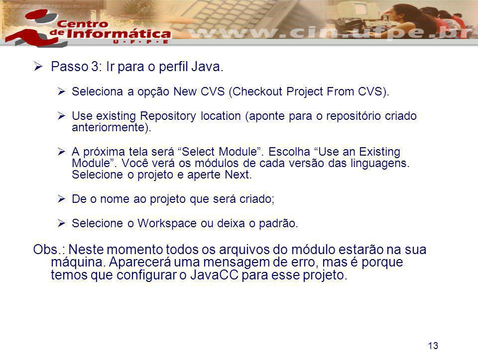 Passo 3: Ir para o perfil Java.