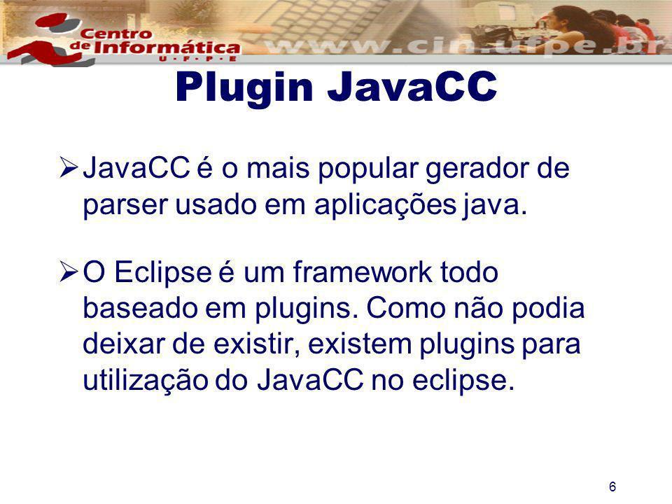 Plugin JavaCC JavaCC é o mais popular gerador de parser usado em aplicações java.
