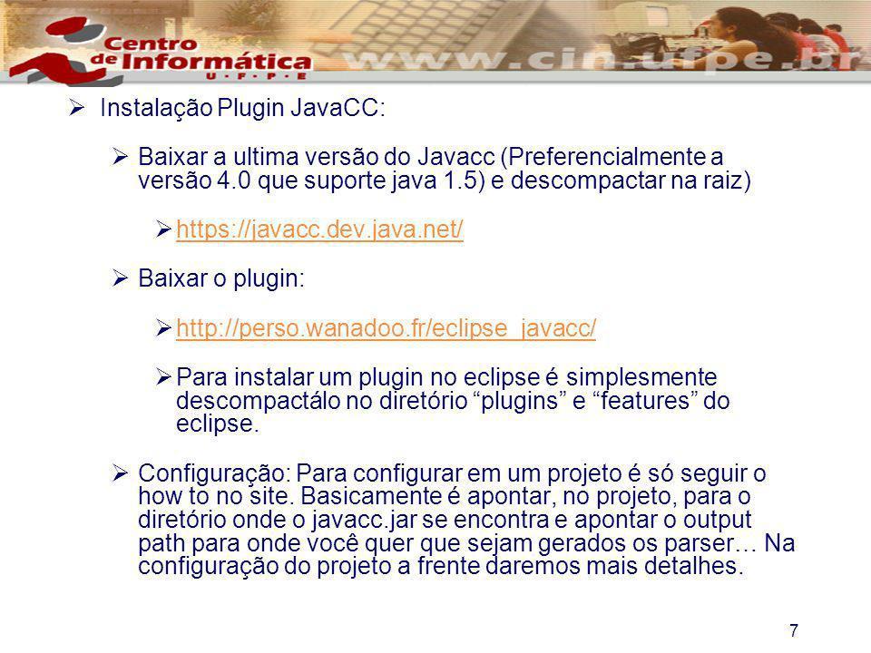 Instalação Plugin JavaCC: