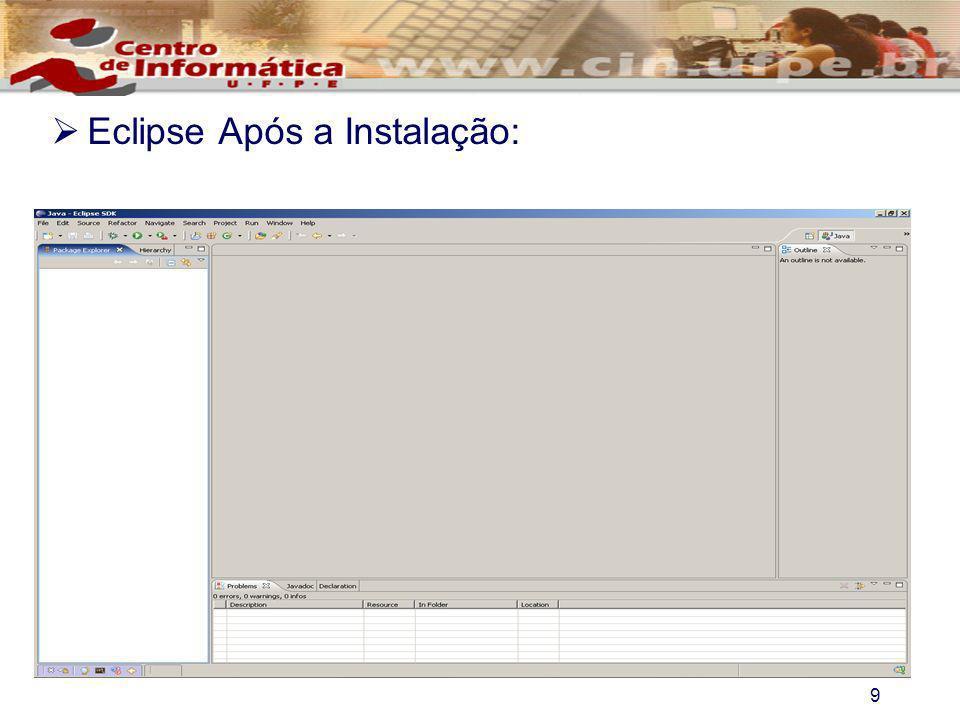 Eclipse Após a Instalação: