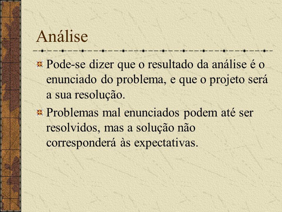 Análise Pode-se dizer que o resultado da análise é o enunciado do problema, e que o projeto será a sua resolução.