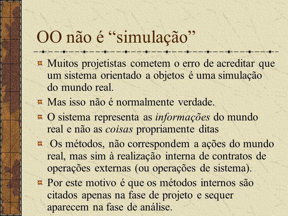 OO não é simulação Muitos projetistas cometem o erro de acreditar que um sistema orientado a objetos é uma simulação do mundo real.