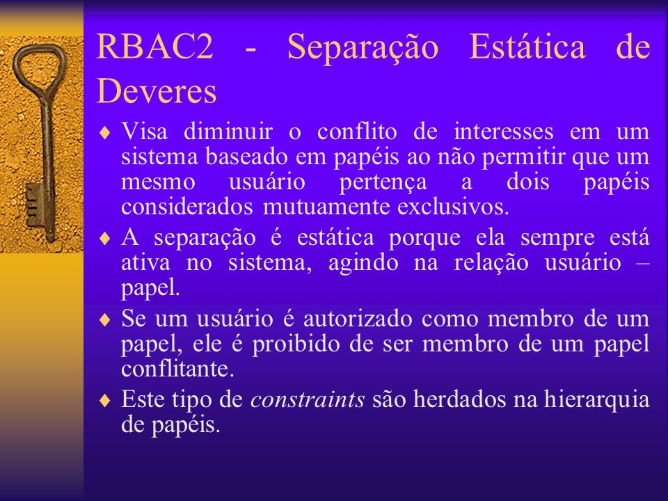 RBAC2 - Separação Estática de Deveres