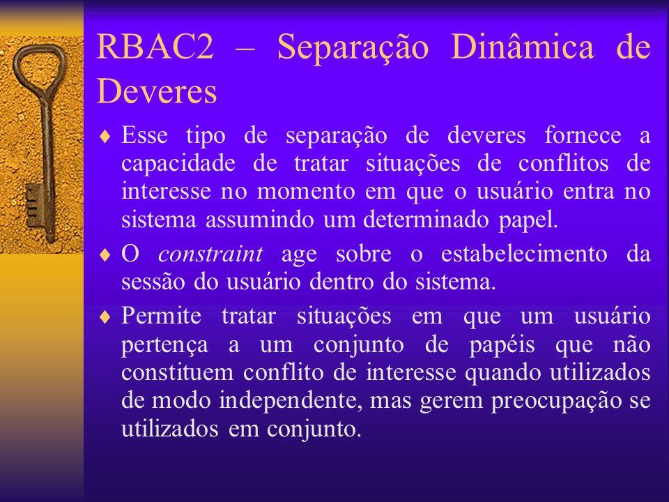 RBAC2 – Separação Dinâmica de Deveres
