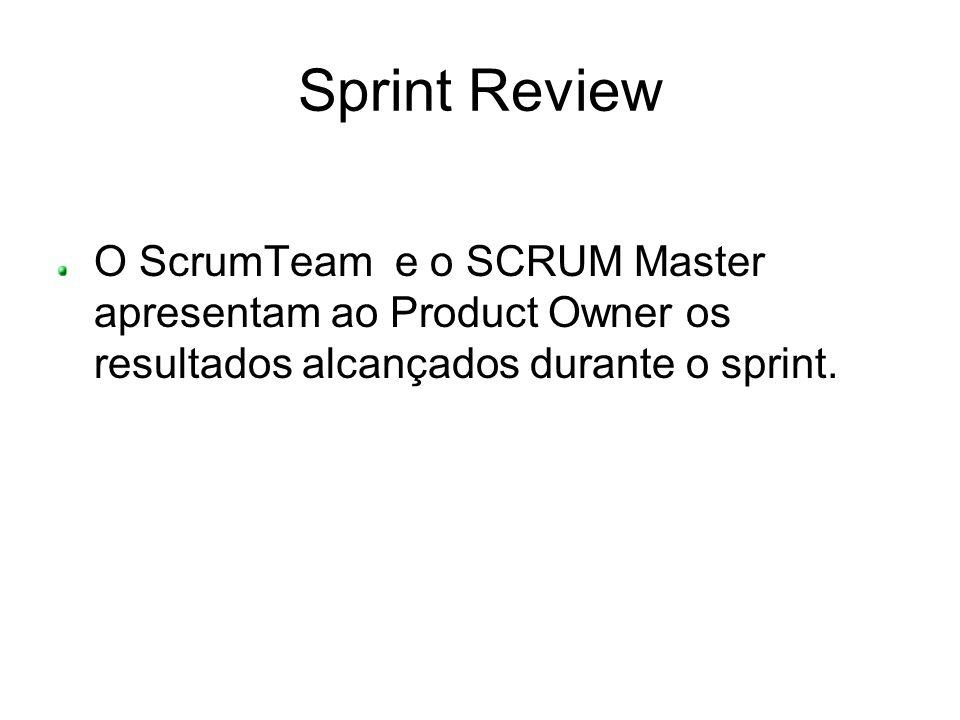Sprint ReviewO ScrumTeam e o SCRUM Master apresentam ao Product Owner os resultados alcançados durante o sprint.