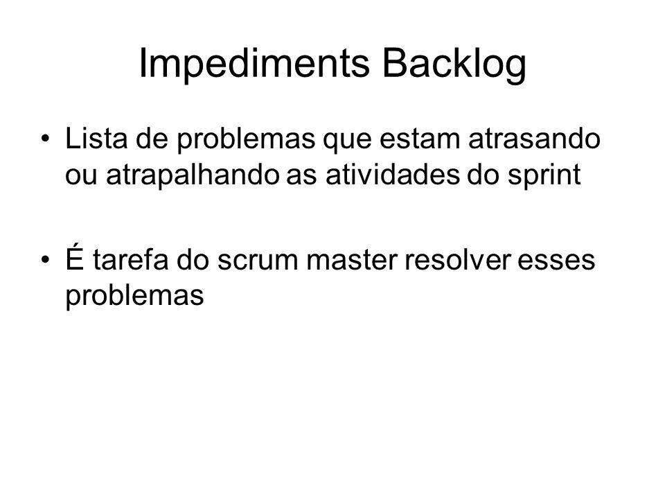 Impediments BacklogLista de problemas que estam atrasando ou atrapalhando as atividades do sprint.