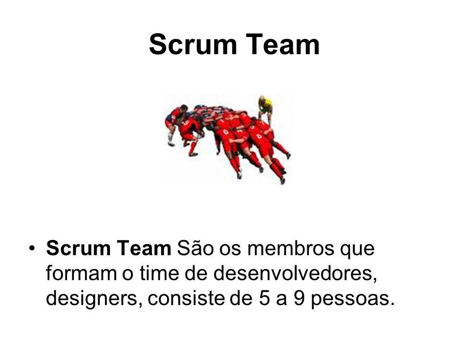 Scrum TeamScrum Team São os membros que formam o time de desenvolvedores, designers, consiste de 5 a 9 pessoas.