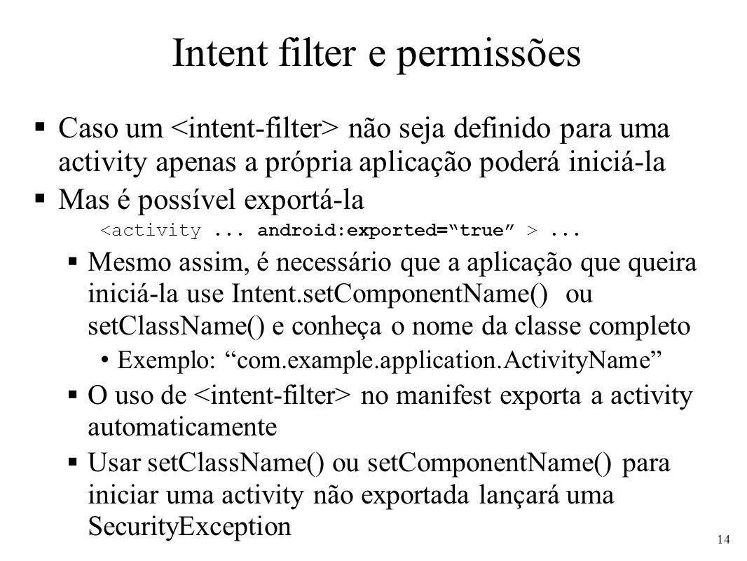 Intent filter e permissões