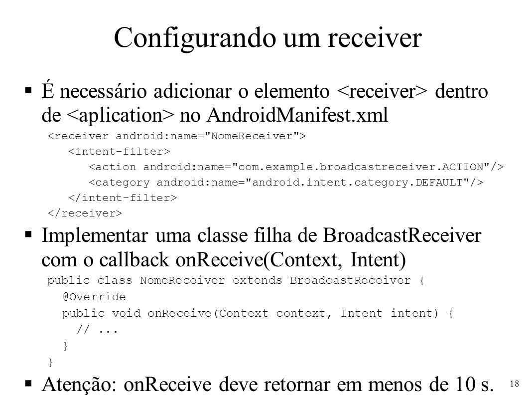 Configurando um receiver