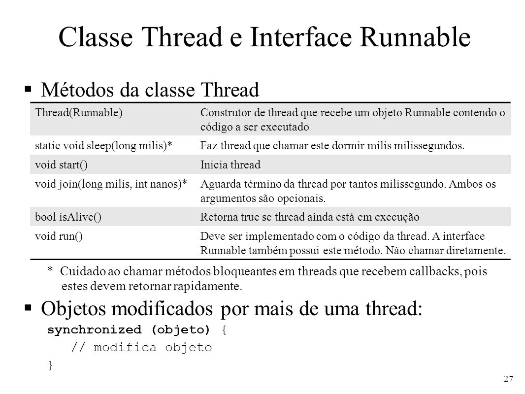 Classe Thread e Interface Runnable