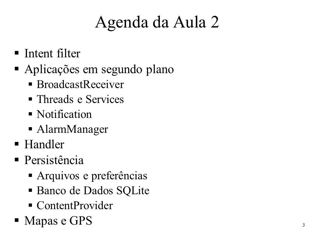 Agenda da Aula 2 Intent filter Aplicações em segundo plano Handler