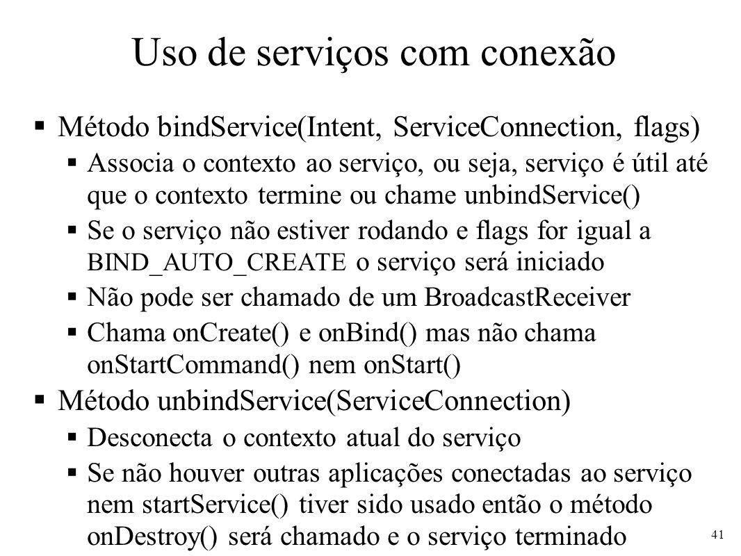Uso de serviços com conexão