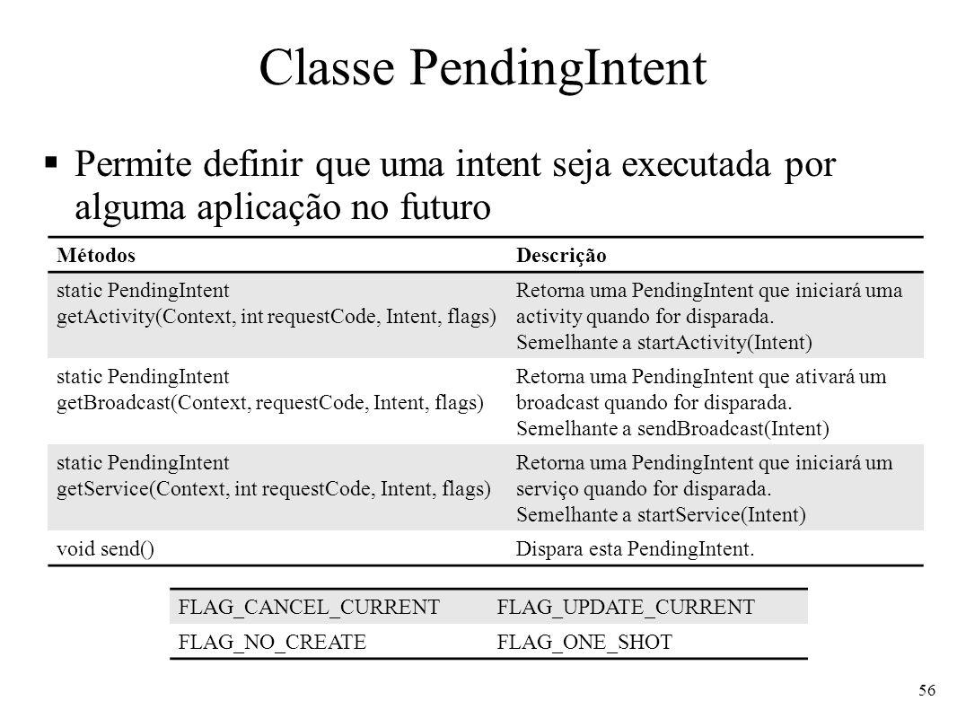 Classe PendingIntentPermite definir que uma intent seja executada por alguma aplicação no futuro. Métodos.