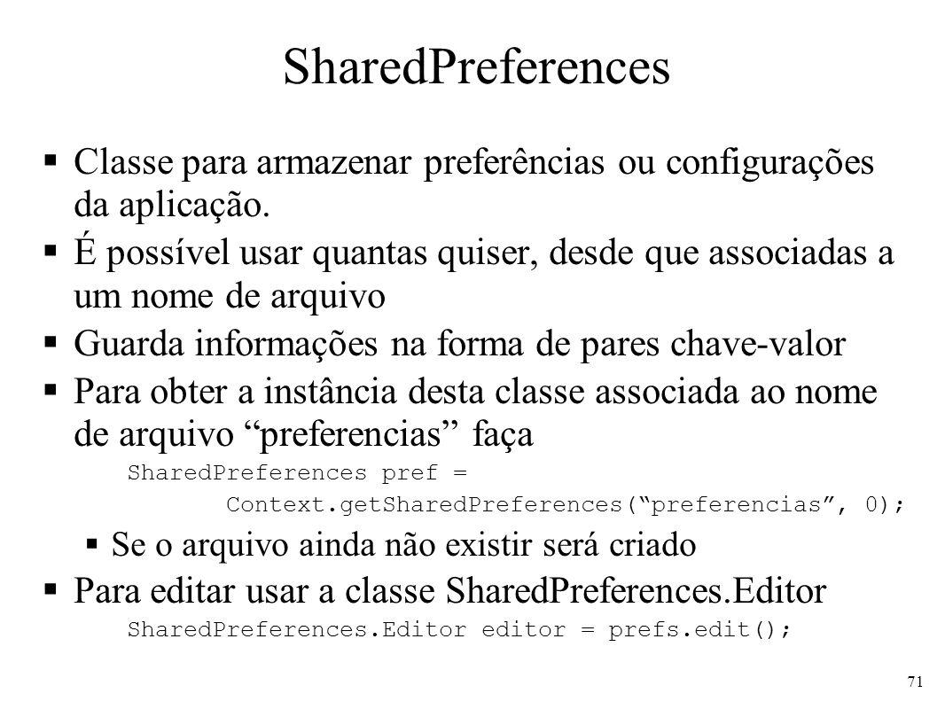 SharedPreferences Classe para armazenar preferências ou configurações da aplicação.