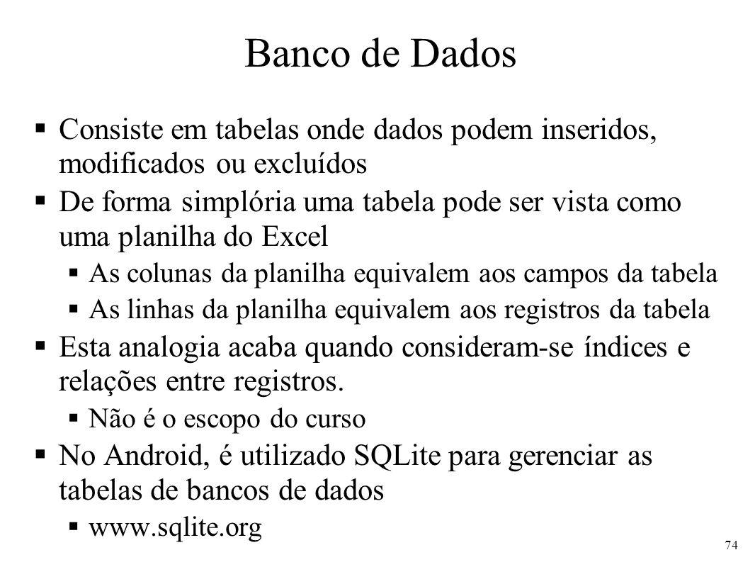 Banco de Dados Consiste em tabelas onde dados podem inseridos, modificados ou excluídos.