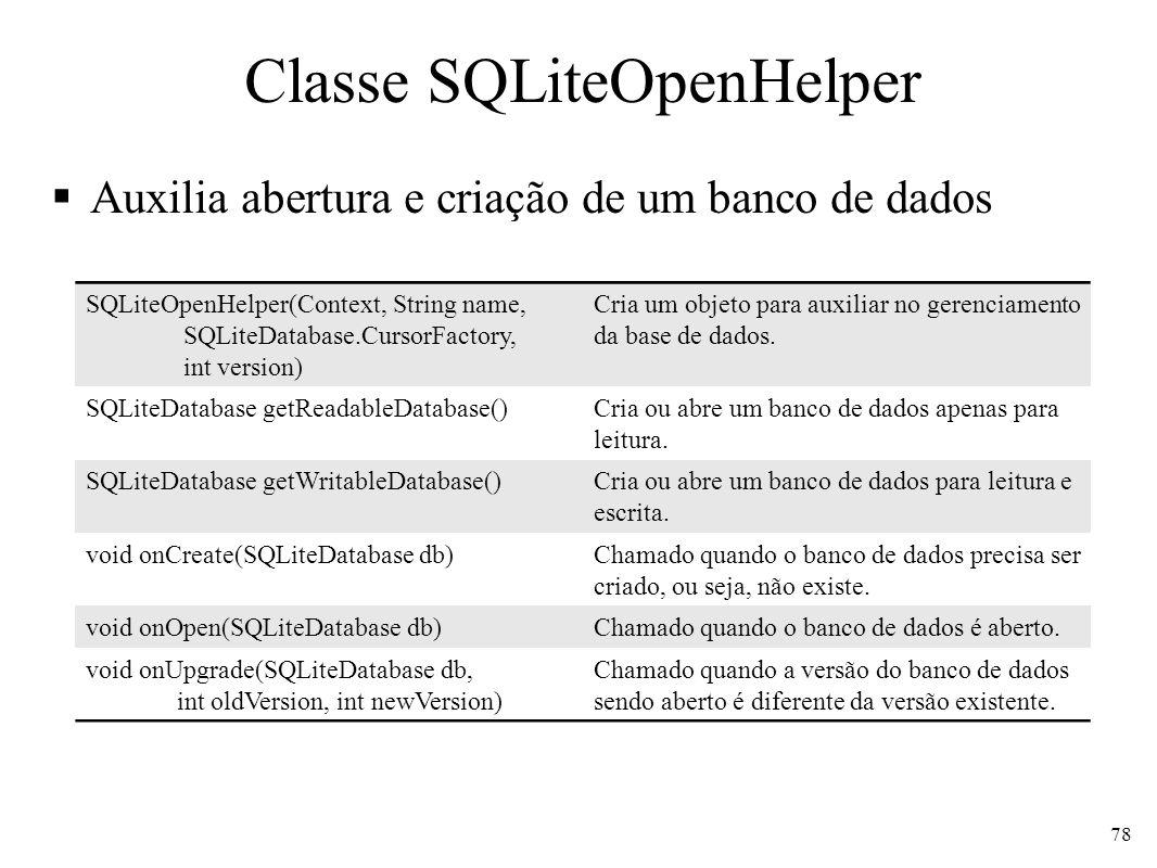 Classe SQLiteOpenHelper