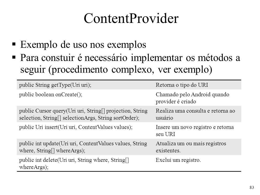 ContentProvider Exemplo de uso nos exemplos