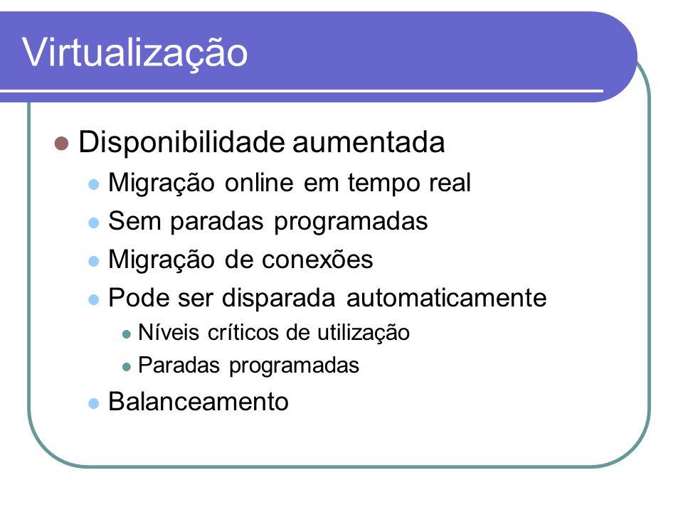 Virtualização Disponibilidade aumentada Migração online em tempo real
