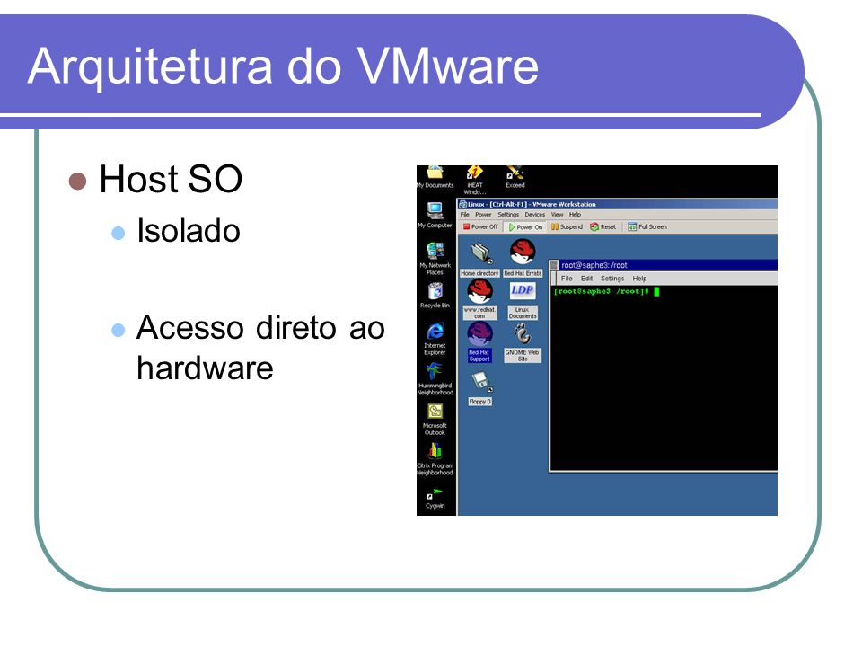 Arquitetura do VMware Host SO Isolado Acesso direto ao hardware