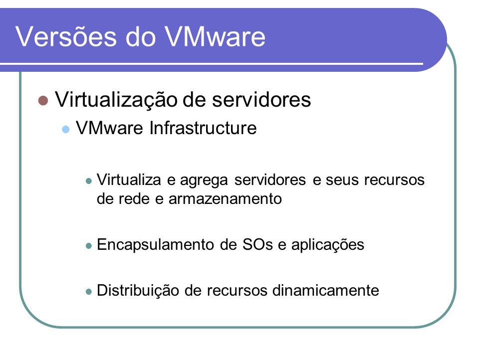 Versões do VMware Virtualização de servidores VMware Infrastructure