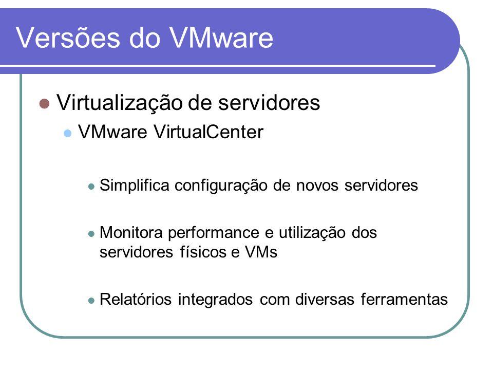 Versões do VMware Virtualização de servidores VMware VirtualCenter