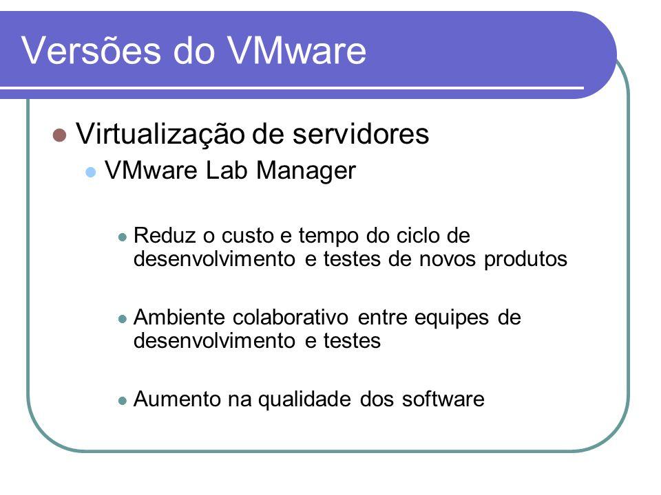 Versões do VMware Virtualização de servidores VMware Lab Manager