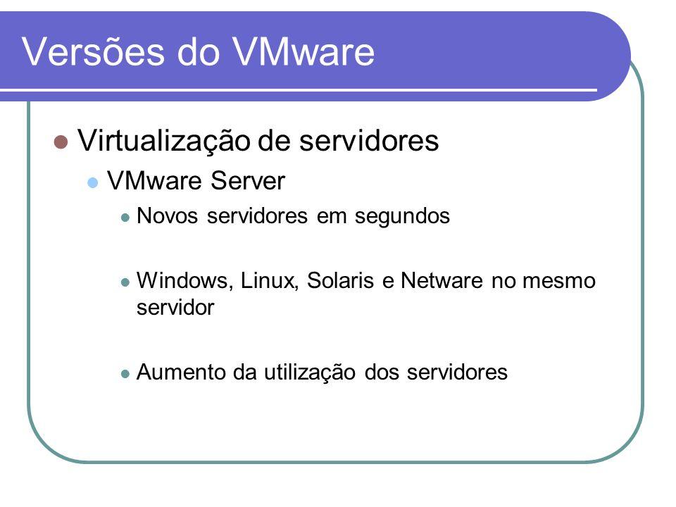 Versões do VMware Virtualização de servidores VMware Server