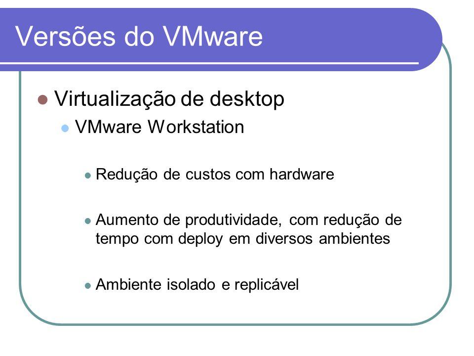 Versões do VMware Virtualização de desktop VMware Workstation