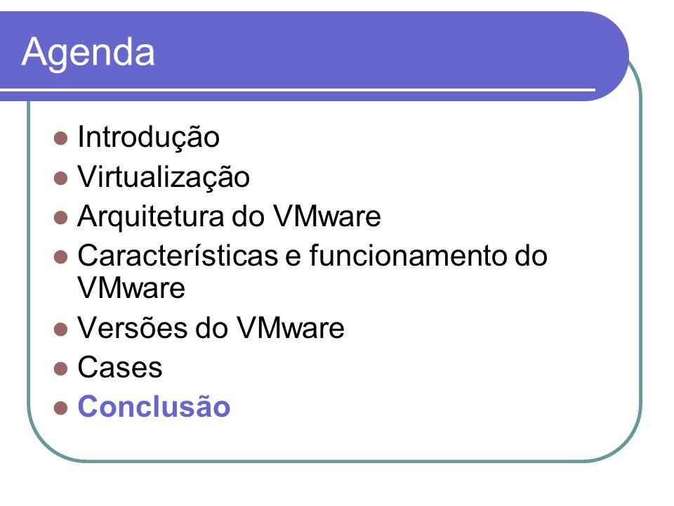 Agenda Introdução Virtualização Arquitetura do VMware
