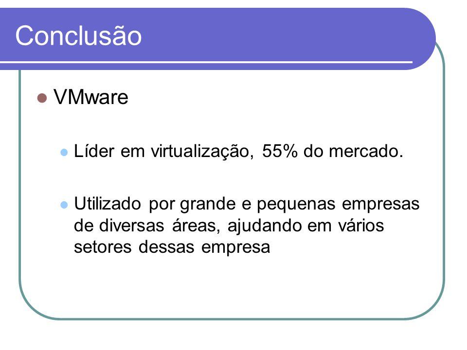 Conclusão VMware Líder em virtualização, 55% do mercado.