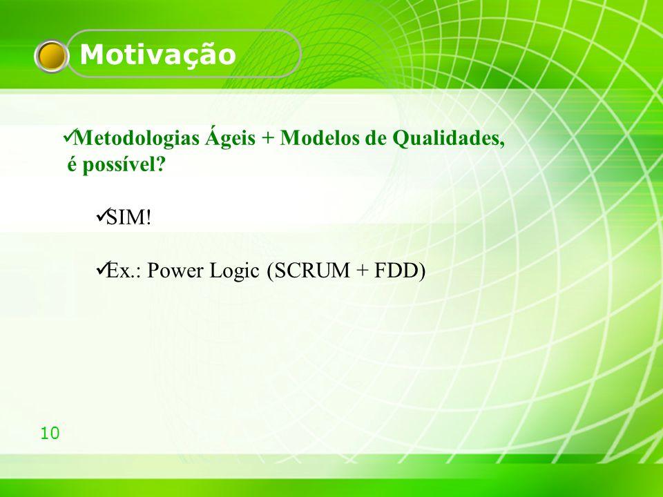 Motivação Metodologias Ágeis + Modelos de Qualidades, é possível SIM!