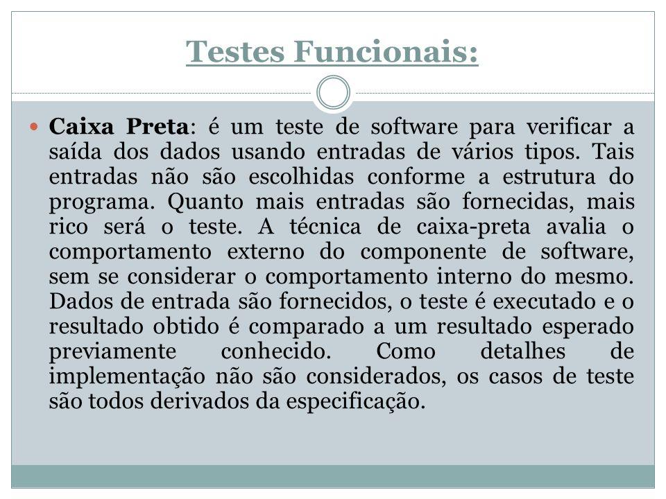 Testes Funcionais: