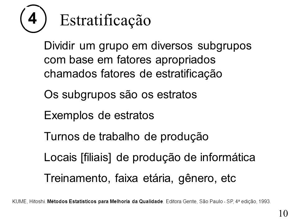 4 Estratificação. Dividir um grupo em diversos subgrupos com base em fatores apropriados chamados fatores de estratificação.