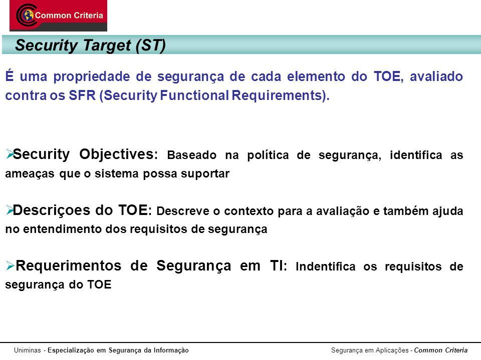 Security Target (ST) É uma propriedade de segurança de cada elemento do TOE, avaliado contra os SFR (Security Functional Requirements).