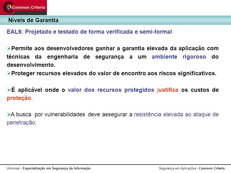 Níveis de Garantia EAL6: Projetado e testado de forma verificada e semi-formal.