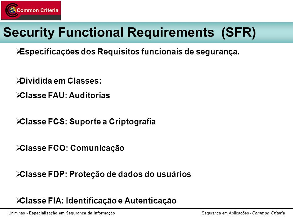 Security Functional Requirements (SFR)
