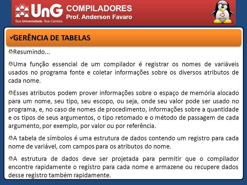 COMPILADORES GERÊNCIA DE TABELAS Resumindo...