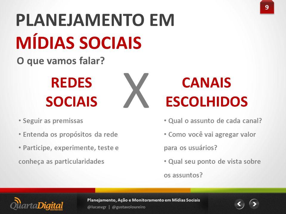 X PLANEJAMENTO EM MÍDIAS SOCIAIS REDES SOCIAIS CANAIS ESCOLHIDOS