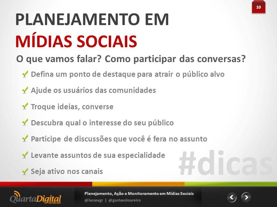 #dicas PLANEJAMENTO EM MÍDIAS SOCIAIS