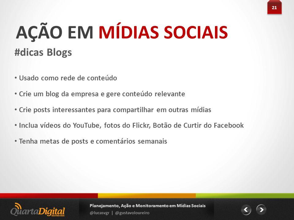 AÇÃO EM MÍDIAS SOCIAIS #dicas Blogs Usado como rede de conteúdo