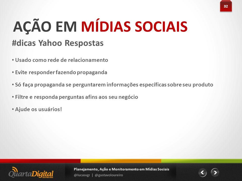 AÇÃO EM MÍDIAS SOCIAIS #dicas Yahoo Respostas