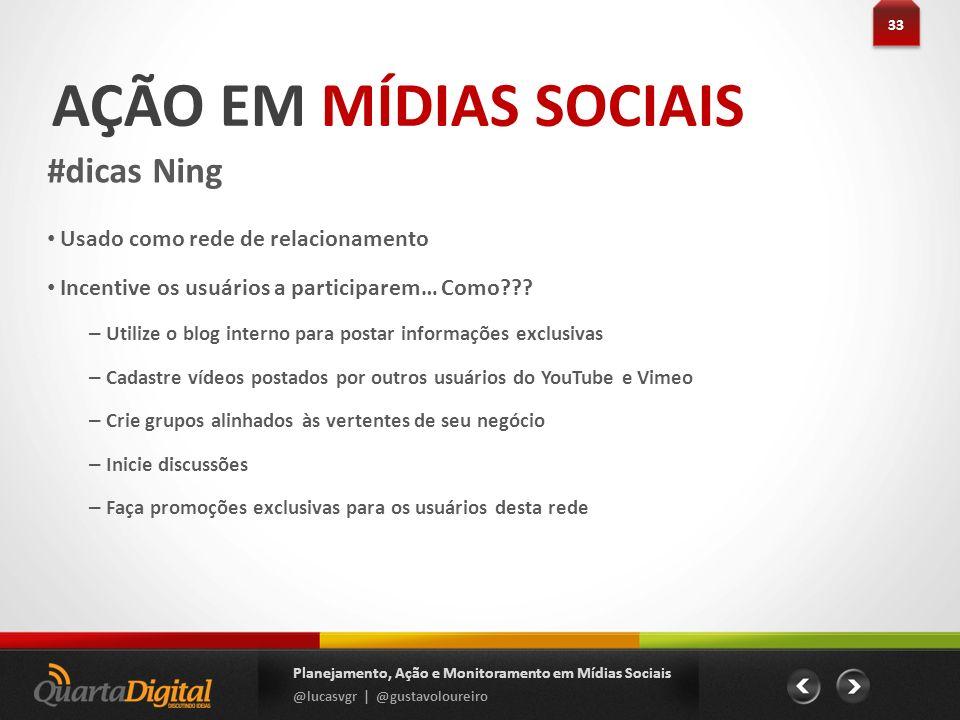 AÇÃO EM MÍDIAS SOCIAIS #dicas Ning Usado como rede de relacionamento