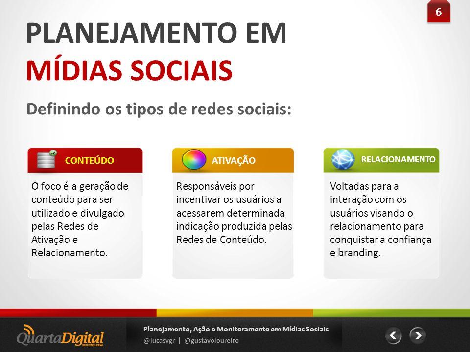 PLANEJAMENTO EM MÍDIAS SOCIAIS Definindo os tipos de redes sociais: 6