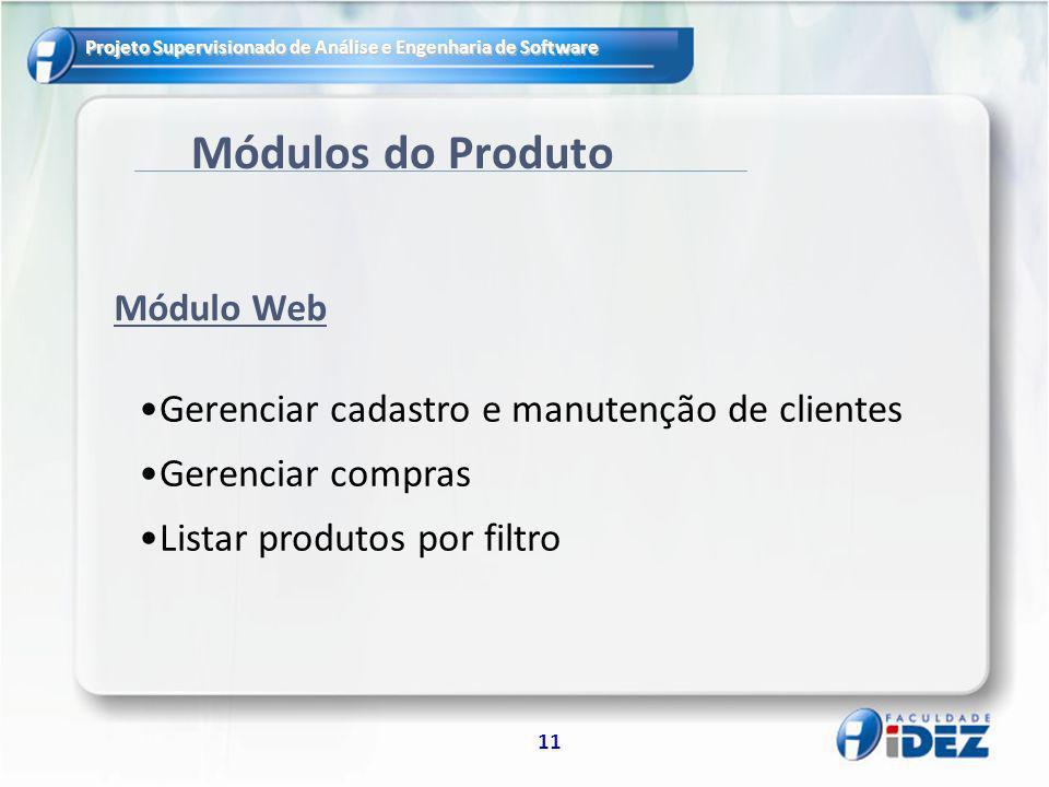 Módulos do Produto Gerenciar cadastro e manutenção de clientes
